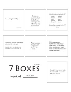 7 Boxes (of Words) vol. 13
