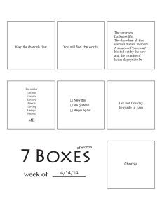 7 Boxes (of Words) vol. 18