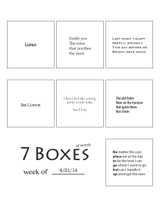 7 Boxes (of Words) vol. 19