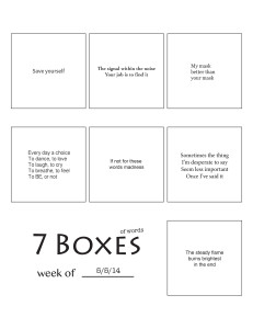 7 Boxes (of Words) vol. 21