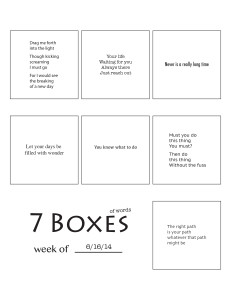 7 Boxes (of Words) vol. 27