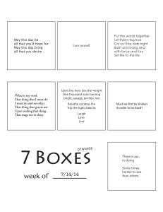 7 Boxes (of Words) vol. 31